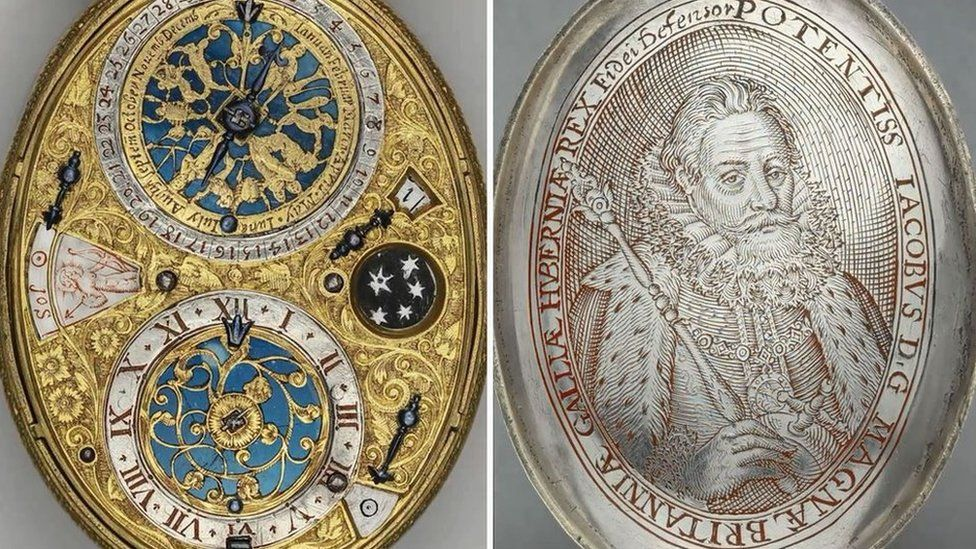 Design of watch face and engraving of King James I of England
