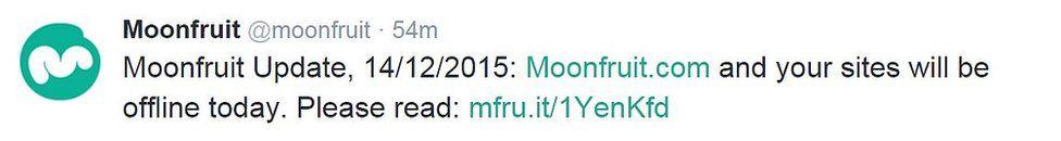 Moonfruit tweet: Your sites will be offline today