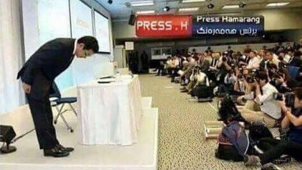 Photo from Twitter that was new Honda chief executive and not the Japanese minister bowing for 20 minutes to apologise for a powercut
