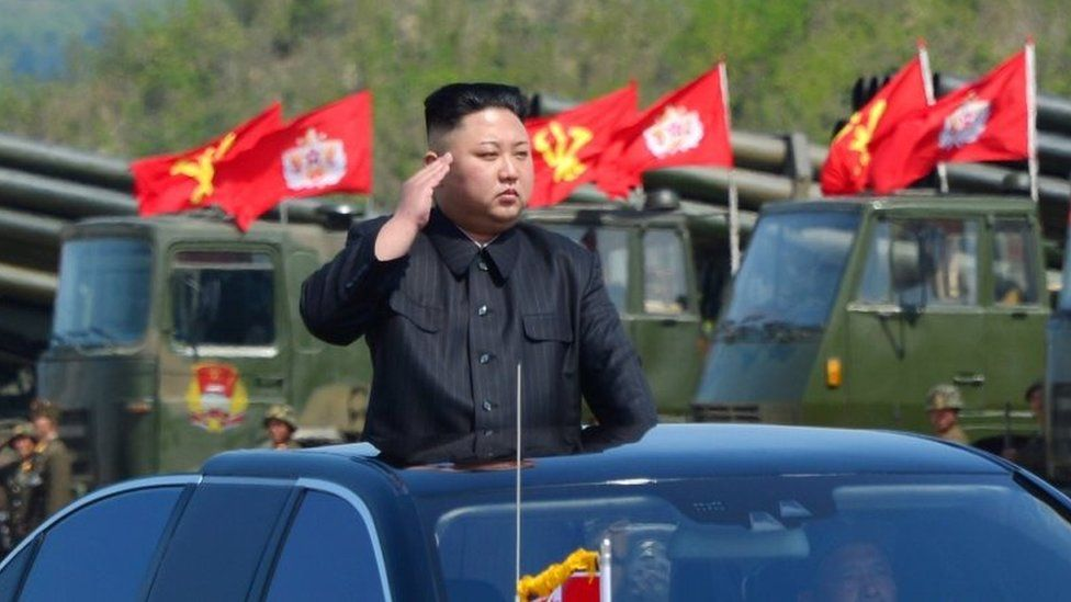 """North Korea's leader Kim Jong Un watches a military drill marking the 85th anniversary of the establishment of the Korean People""""s Army (KPA) in this handout photo by North Korea""""s Korean Central News Agency (KCNA) made available on 26 April 2017"""