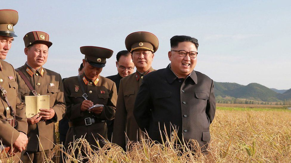 Kim Jong-Un visits an army farm in a picture released in 2017