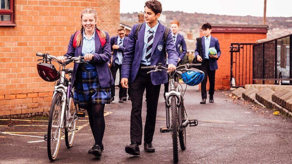 Pupils in school uniform