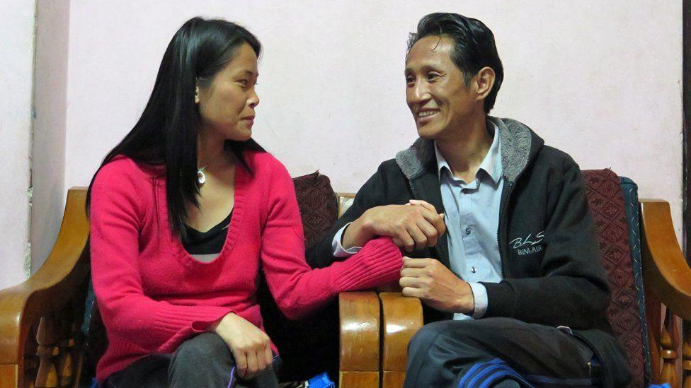 Wangda Dorje and Tshering Choden at home
