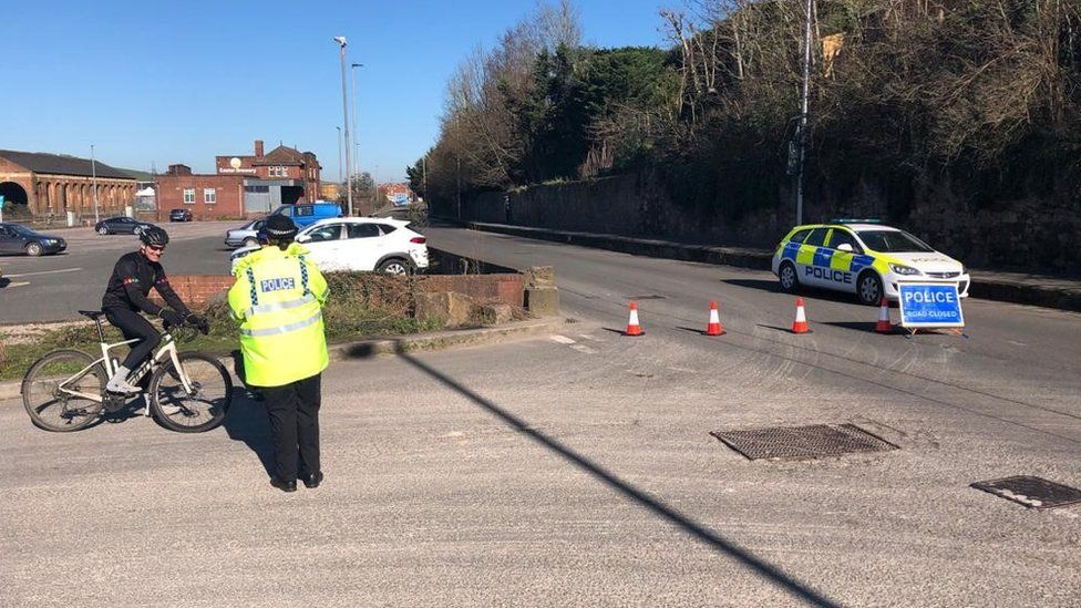 Road closed in Exeter