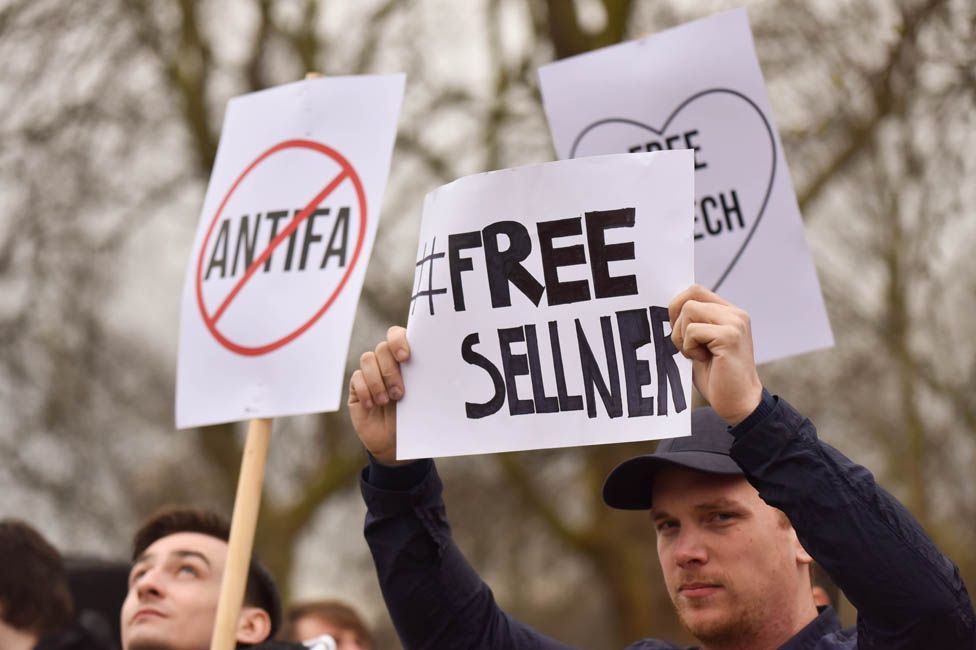 Supporters of Sellner confront anti-fascists at Speaker's Corner, London
