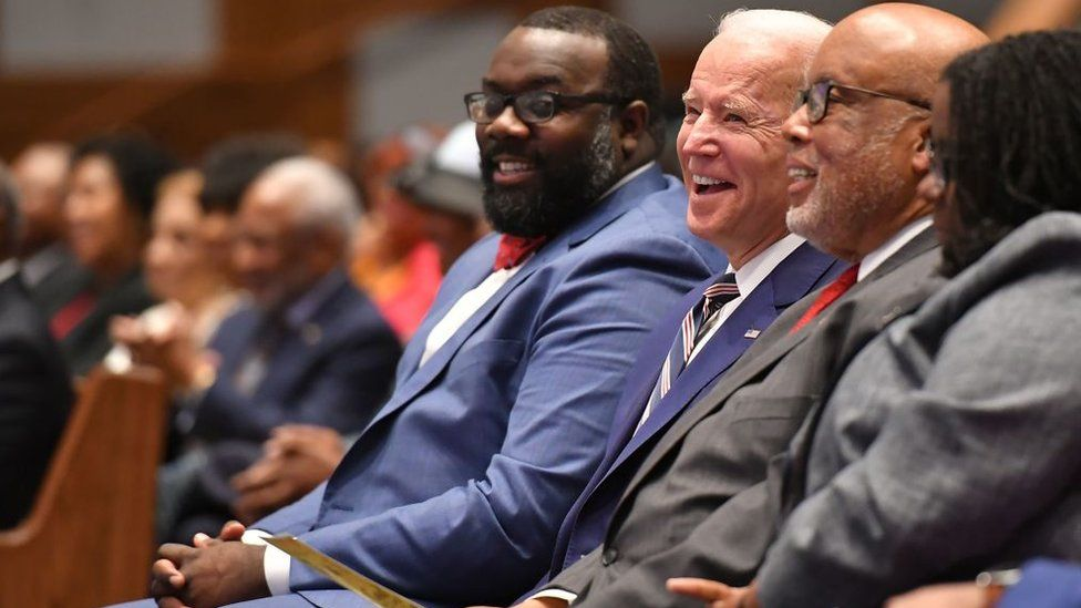 Joe Biden attends Sunday service at the New Hope Baptist Church in Jackson, Mississippi on 8 March, 2020