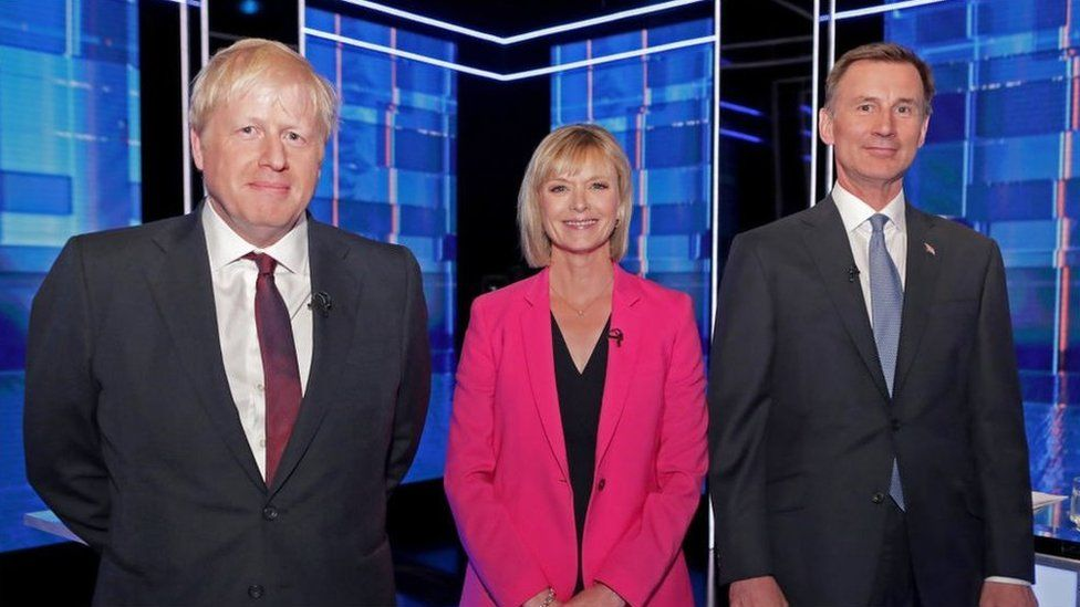 Boris Johnson, Julie Etchingham and Jeremy Hunt