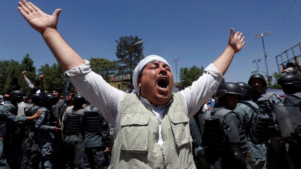 An Afghan man chants slogans, during a protest in Kabul, Afghanistan 2 June 2017