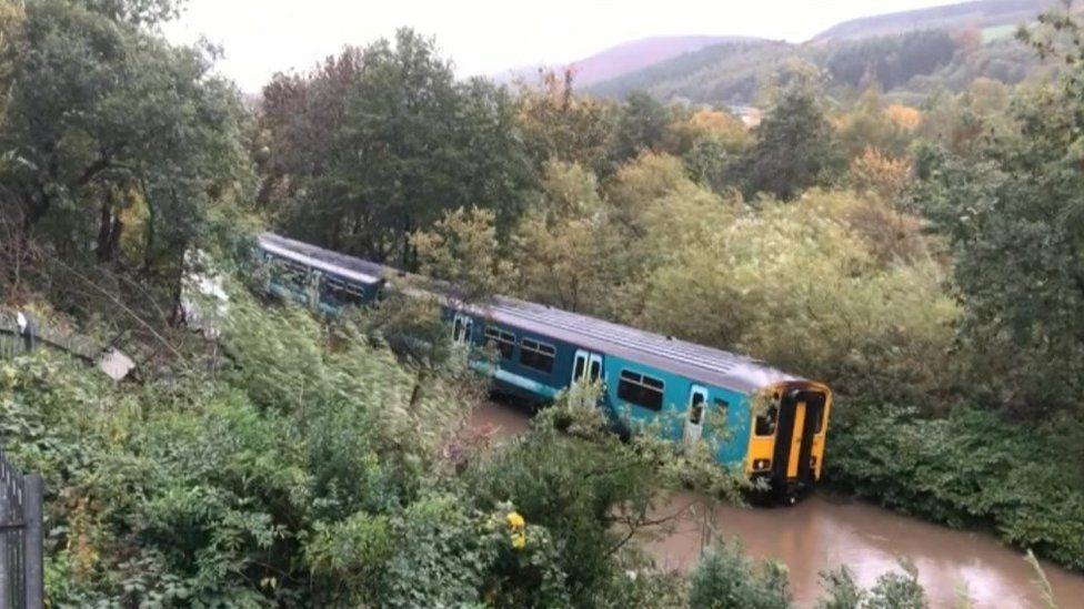 Stranded train in Storm Callum