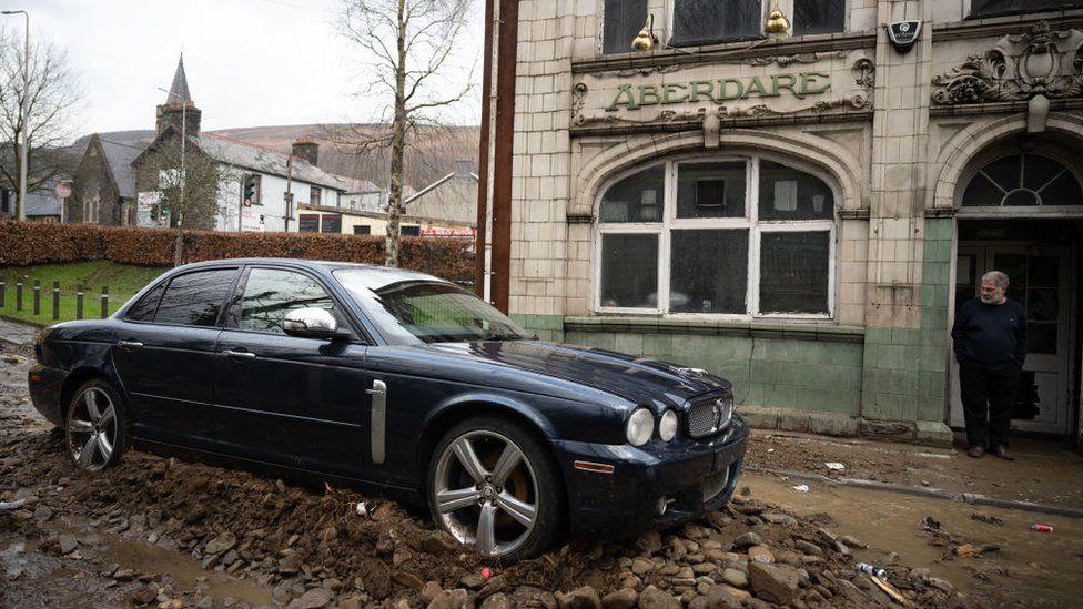 A Jaguar car outside a building in Aberdare, Rhondda Cynon Taf