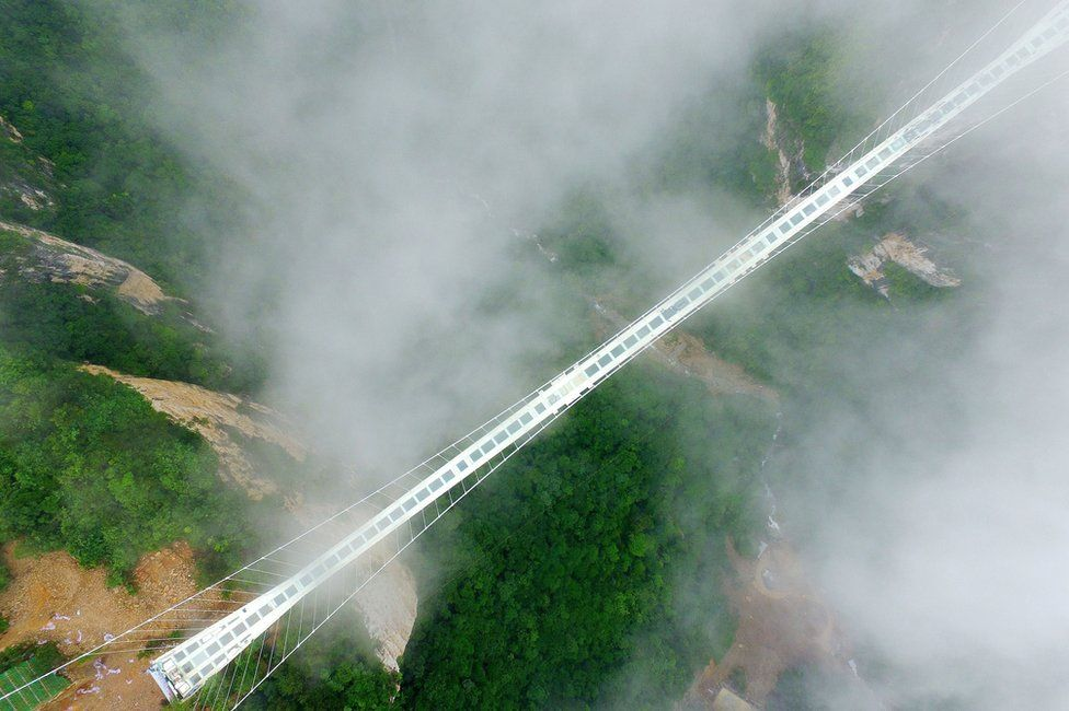 Glass bridge in Zhangjiajie, Hunan province
