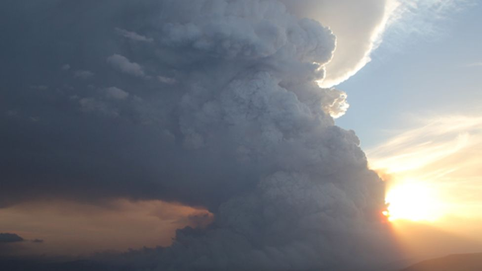 Pyrocumulus clouds from bushfires hang over the Grampian Mountains in Victoria in 2014