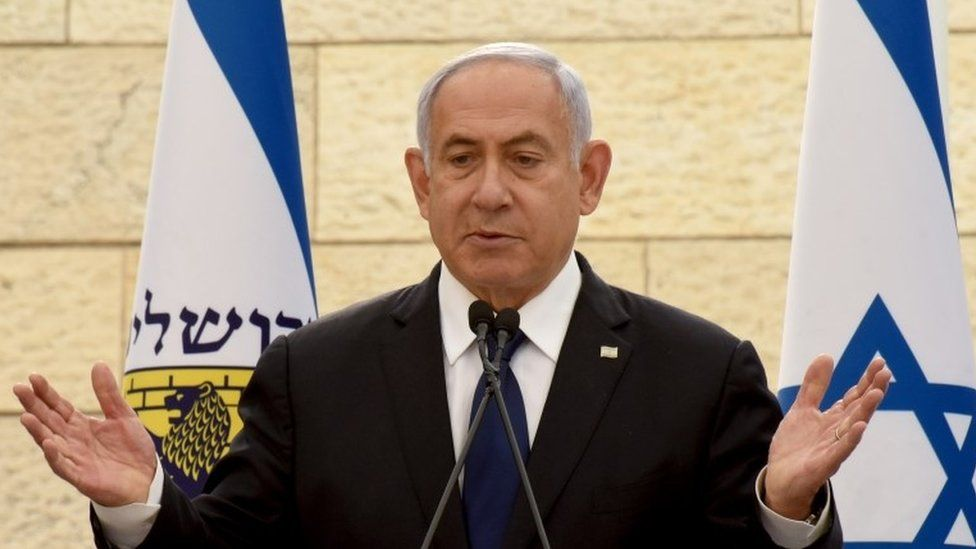 "Benjamin Netanyahu speaks at a ceremony for fallen soldiers of Israel""s wars at the Yad Lebanim House on the eve of Memorial Day, in Jerusalem, April 13, 2021"