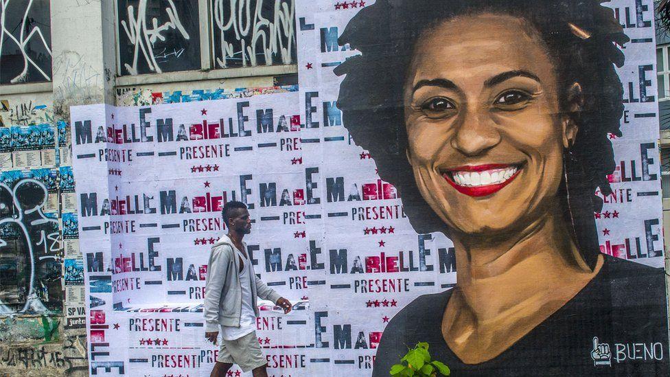 A wheat-paste piece of street art by artist Luis Bueno shows the councilwoman from Rio de Janeiro Marielle Franco. File photo