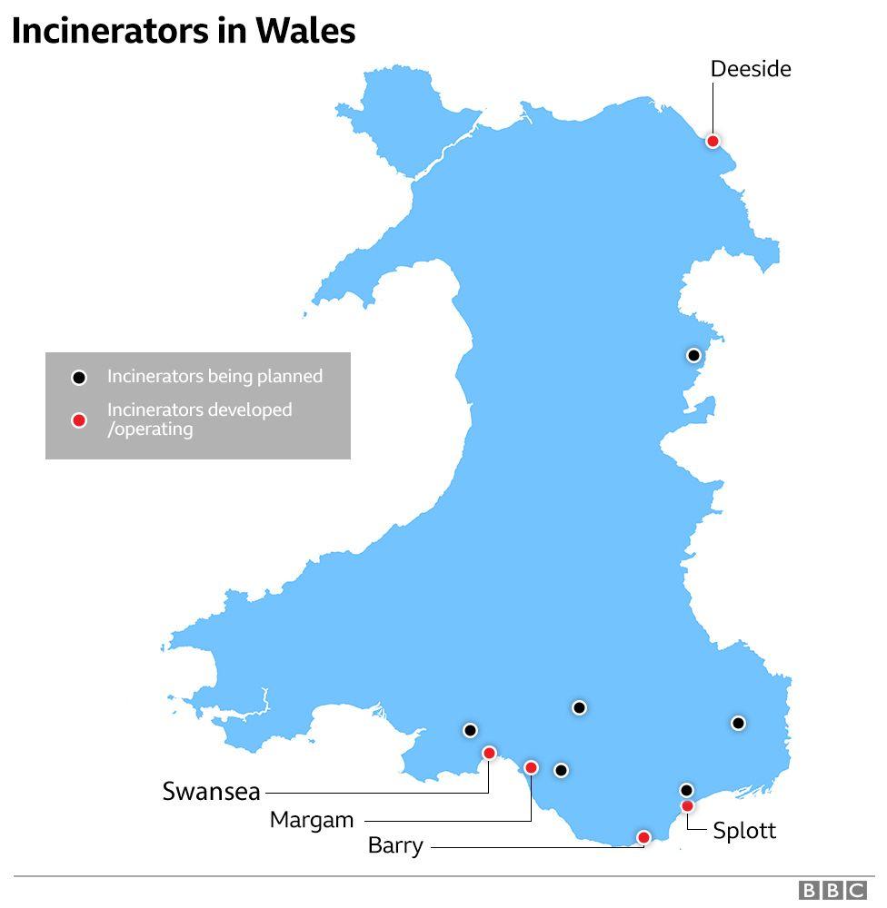 Map of incinerators