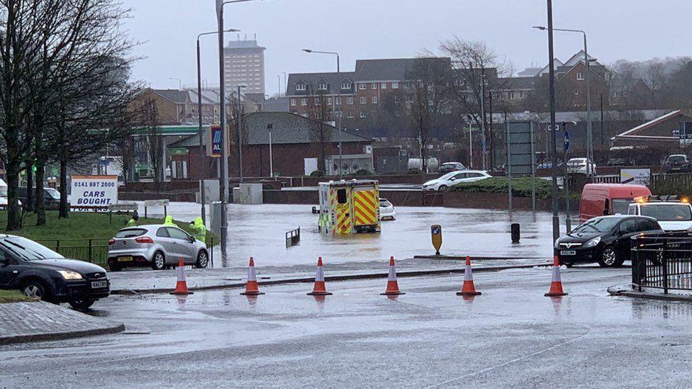 Stranded ambulance, Paisley.