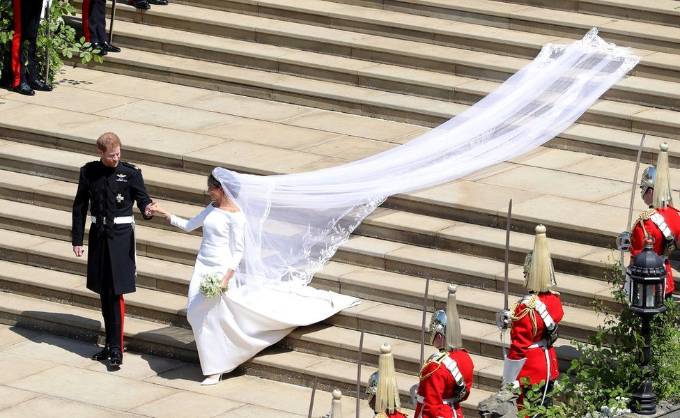 "Prince Harry and Meghan Markle leave St George""s Chapel in Windsor Castle after their wedding"