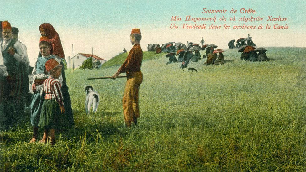 A postcard showing Muslims near Chania on the traditional Friday day of rest