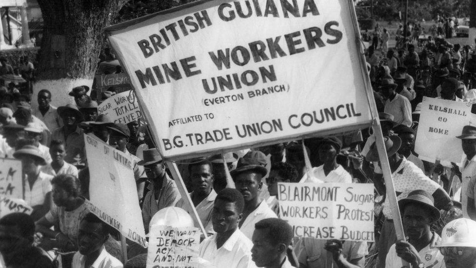Striking miners in British Guiana