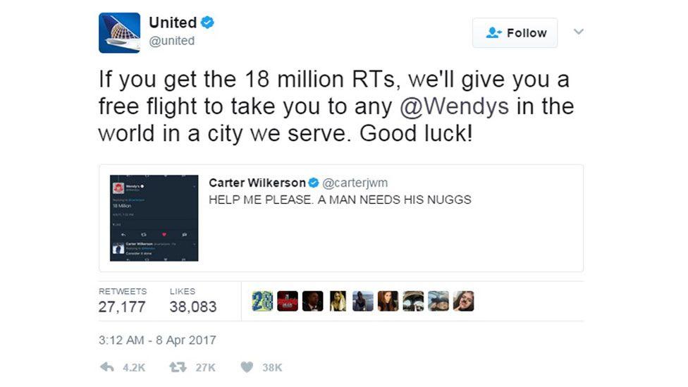 United Airlines's tweet offering Mr Wilkerson a free flight