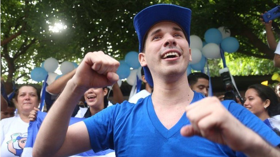 Edwin Carcache celebrates after being released from prison, in Managua on June 11, 2019
