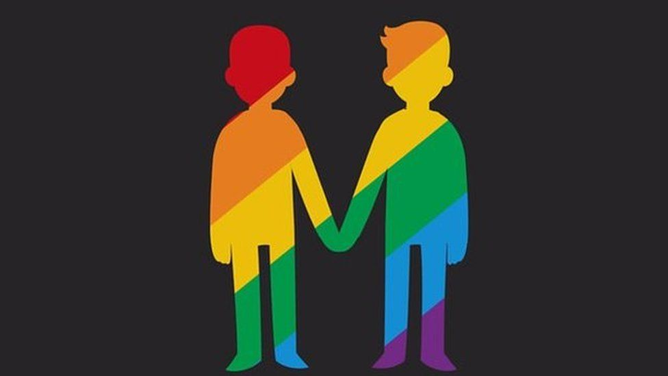 An animated graphic of a gay couple