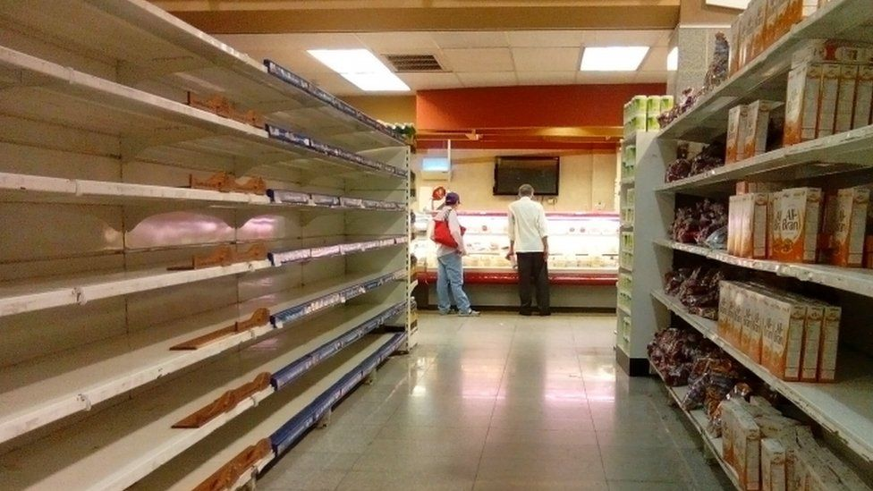 An empty supermarket in Caracas, May 2016