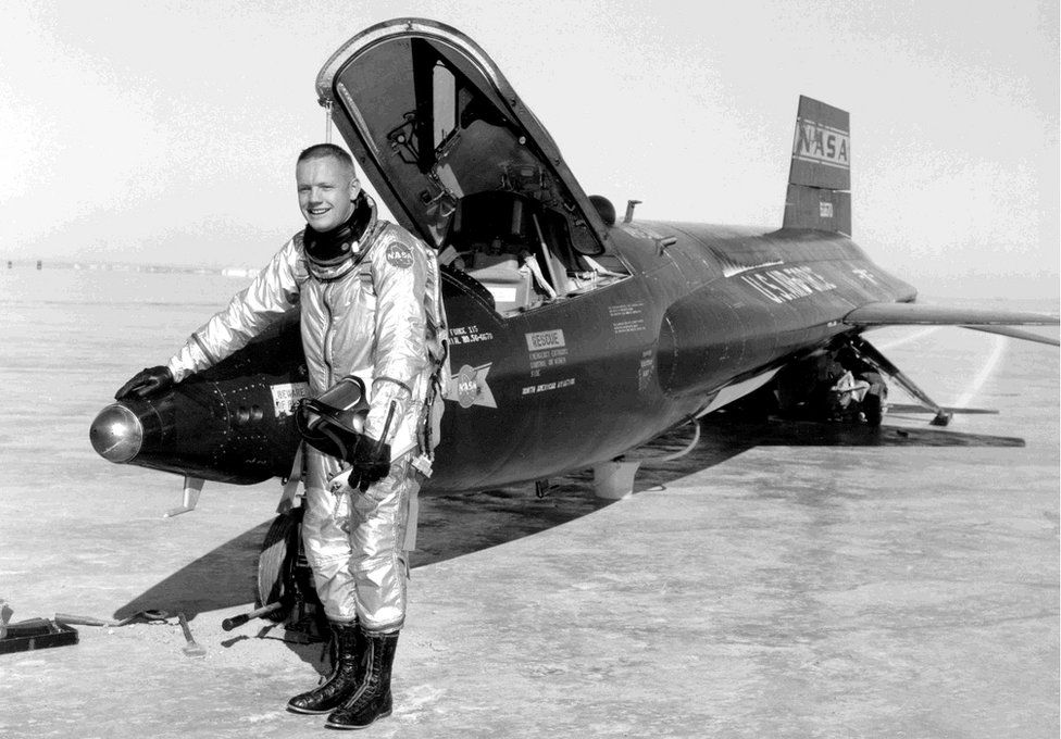 Armstrong flew the rocket-powered X-15 as a research test pilot at the NACA High-Speed Flight Station, now NASA's Dryden Flight Research Center.