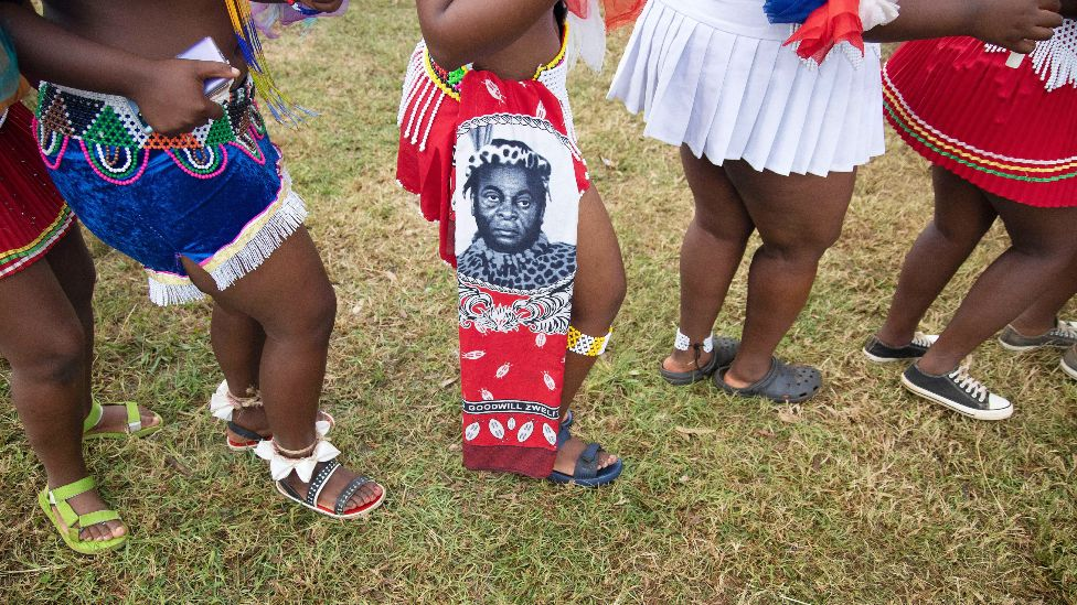 The skirts worn by young Zulu women at a memorial for King Goodwill Zwelithini in Nongoma, South Africa - 18 March 2021