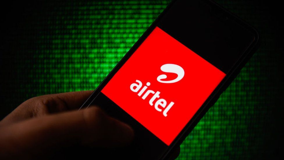 In this photo illustration an Airtel logo seen displayed on a smartphone