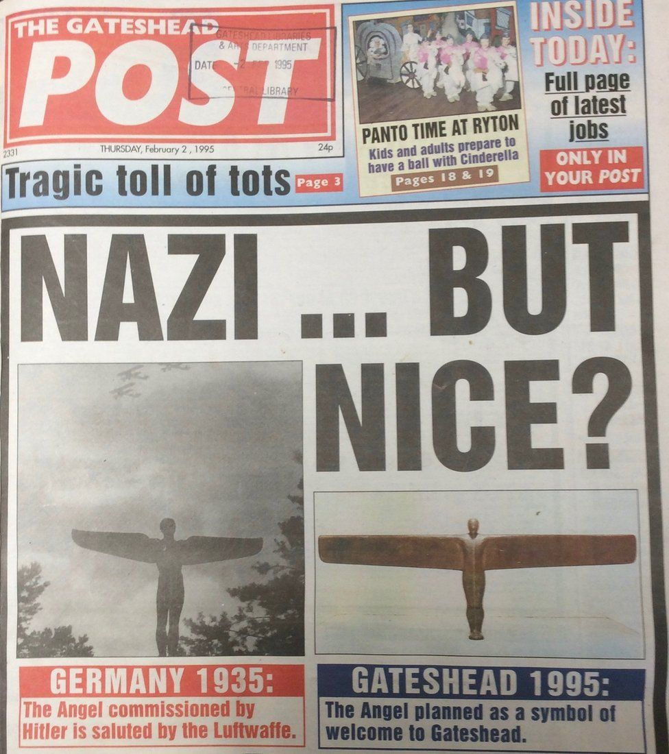 Gateshead Post front cover showing the Nazi....but nice? headline