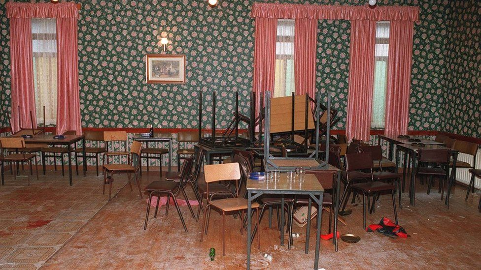 The inside of the Rising Sun bar after the gun attack