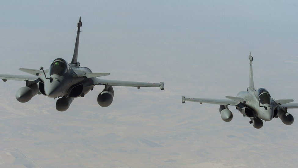 An undated handout picture provided by the Defense Audiovisual Communication and Production Unit (ECPAD) on 08 September 2015 shows Rafale fighter jets of the French Air Force
