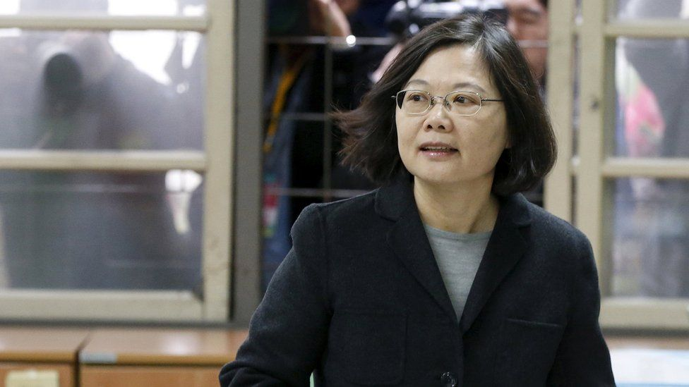 """Taiwan""""s Democratic Progressive Party (DPP) Chairperson and presidential candidate Tsai Ing-wen casts her ballot in New Taipei"""