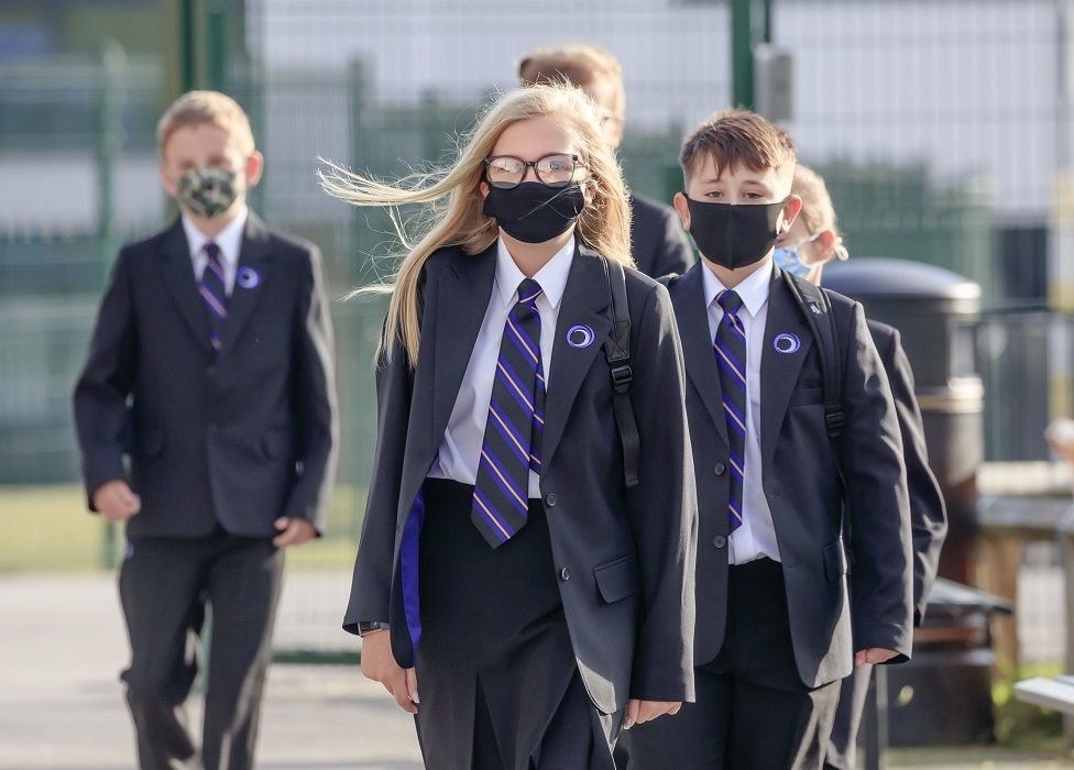 File image of pupils wear protective face masks at Outwood Academy Adwick in Doncaster, in September 2020