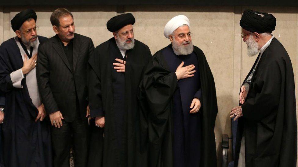 Iranian Supreme Leader Ayatollah Ali Khamenei (R), Iranian President Hassan Rouhani (R2), judiciary chief Ebrahim Raisi (L3), First Vice President Eshaq Jahangiri (L2) and Intelligence Minister Mahmoud Alavi (L) attend a memorial for Qasem Soleimani in Tehran, Iran (9 January 2020)