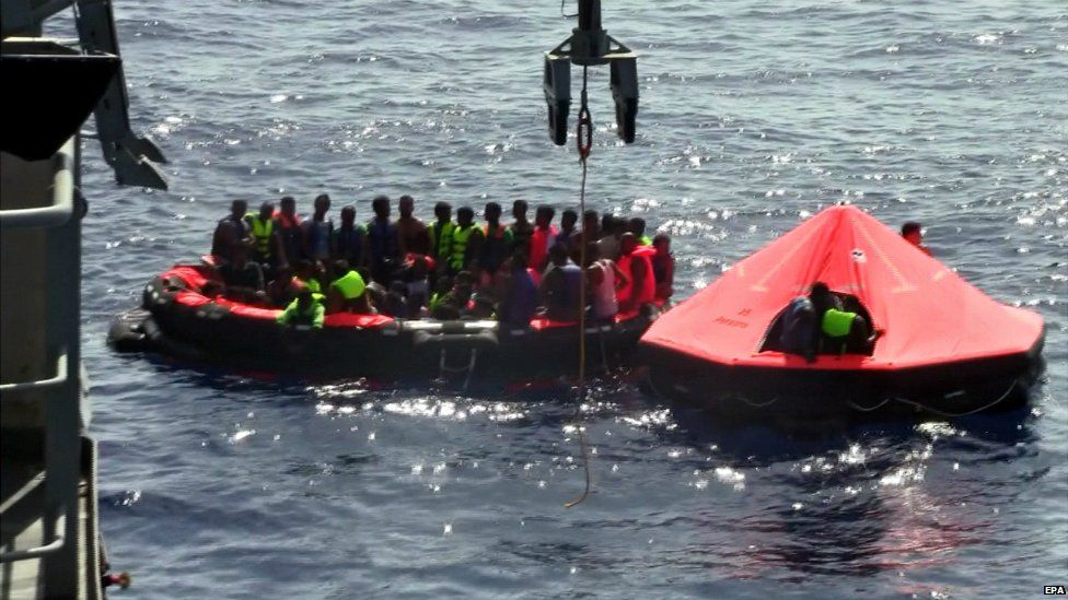 A grab from a video released by the Irish Navy showing the rescue operation in the Mediterranean - 5 August 2015