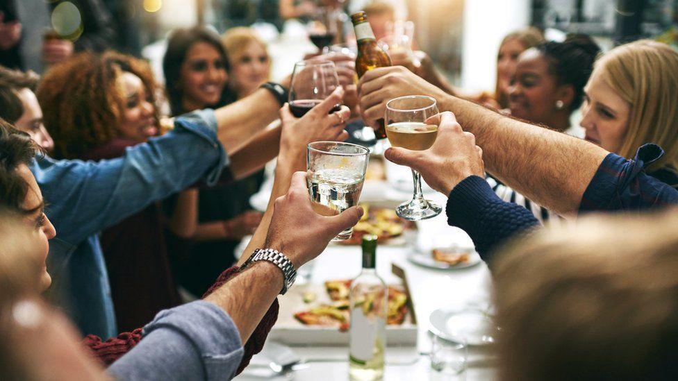 Friends drinking in a restaurant
