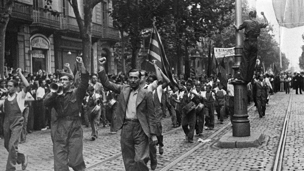 Anti-Franco demonstration in Barcelona