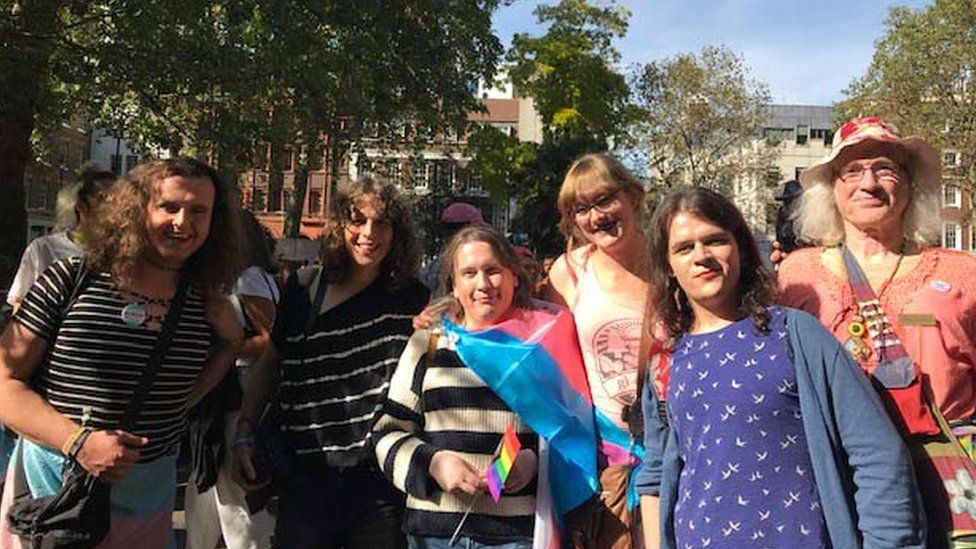 Aisha Brown (fourth from right) pictured with friends at London's Trans Pride on Saturday.