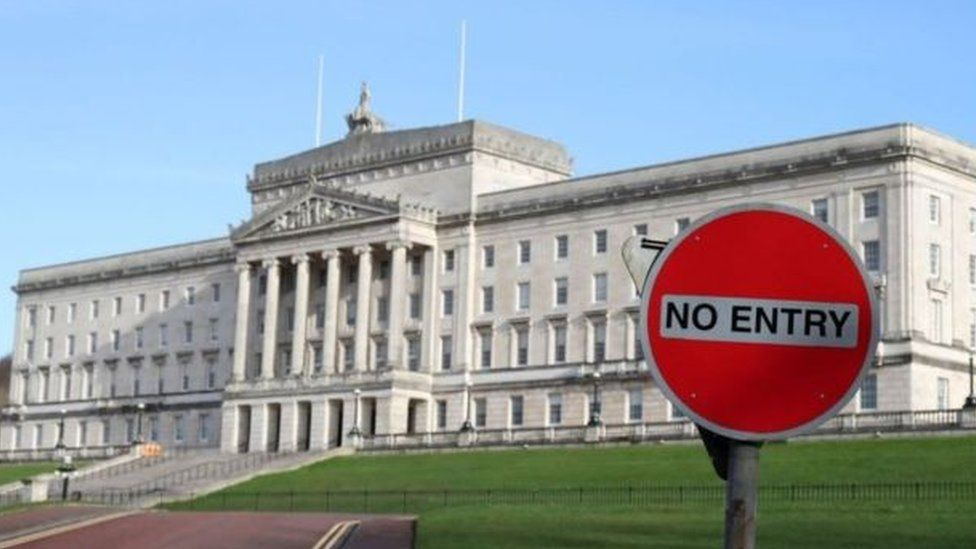 Stormont with a no entry traffic sign