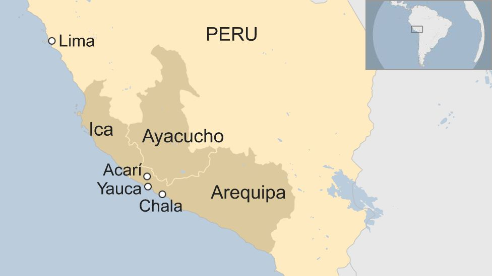 Map of Peru showing the Arequipa, Ica, Ayacucho regions affected by the 14 January 2018 earthquake.