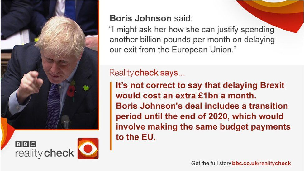 Boris Johnson said: I might ask her how she can justify spending another billion pounds per month on delaying our exit from the European Union. Reality Check says: It's not correct to say that delaying Brexit would cost an extra £1bn a month.