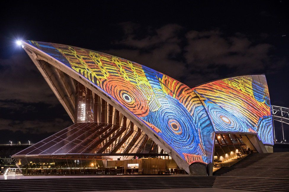 How the animation will look on the Sydney Opera House