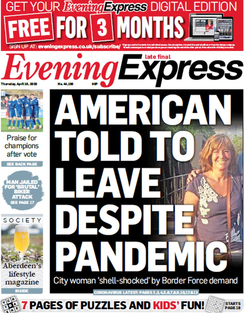 Evening Express front page