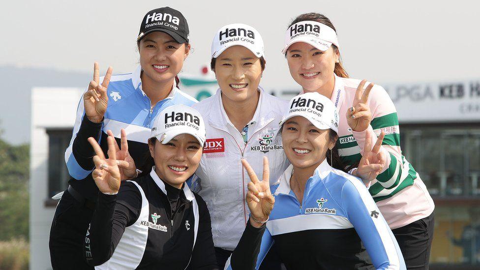 South Korean golfers pose during a photo call ahead of the LPGA tour