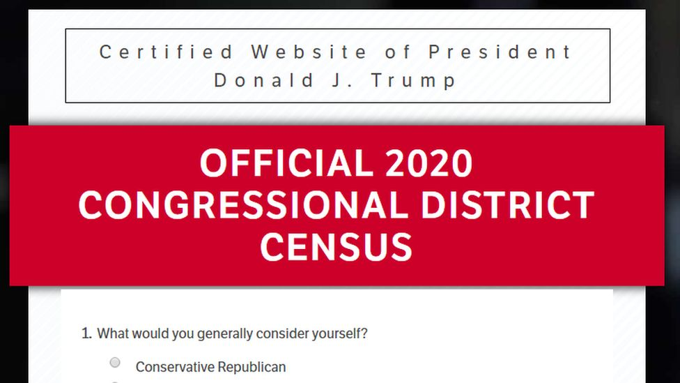 """A screenshot from the Donald Trump website reading """"Official 2020 Congressional District Census"""""""