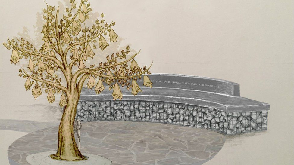Artist's drawing of Opposing War Memorial