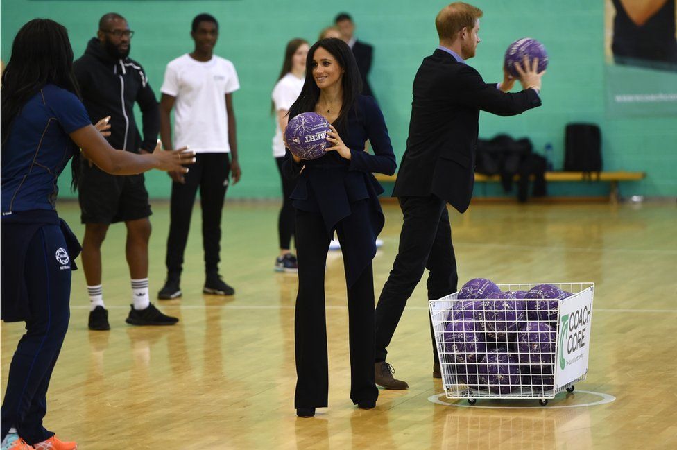 The Duke and Duchess of Sussex playing basketball at Loughborough University in September