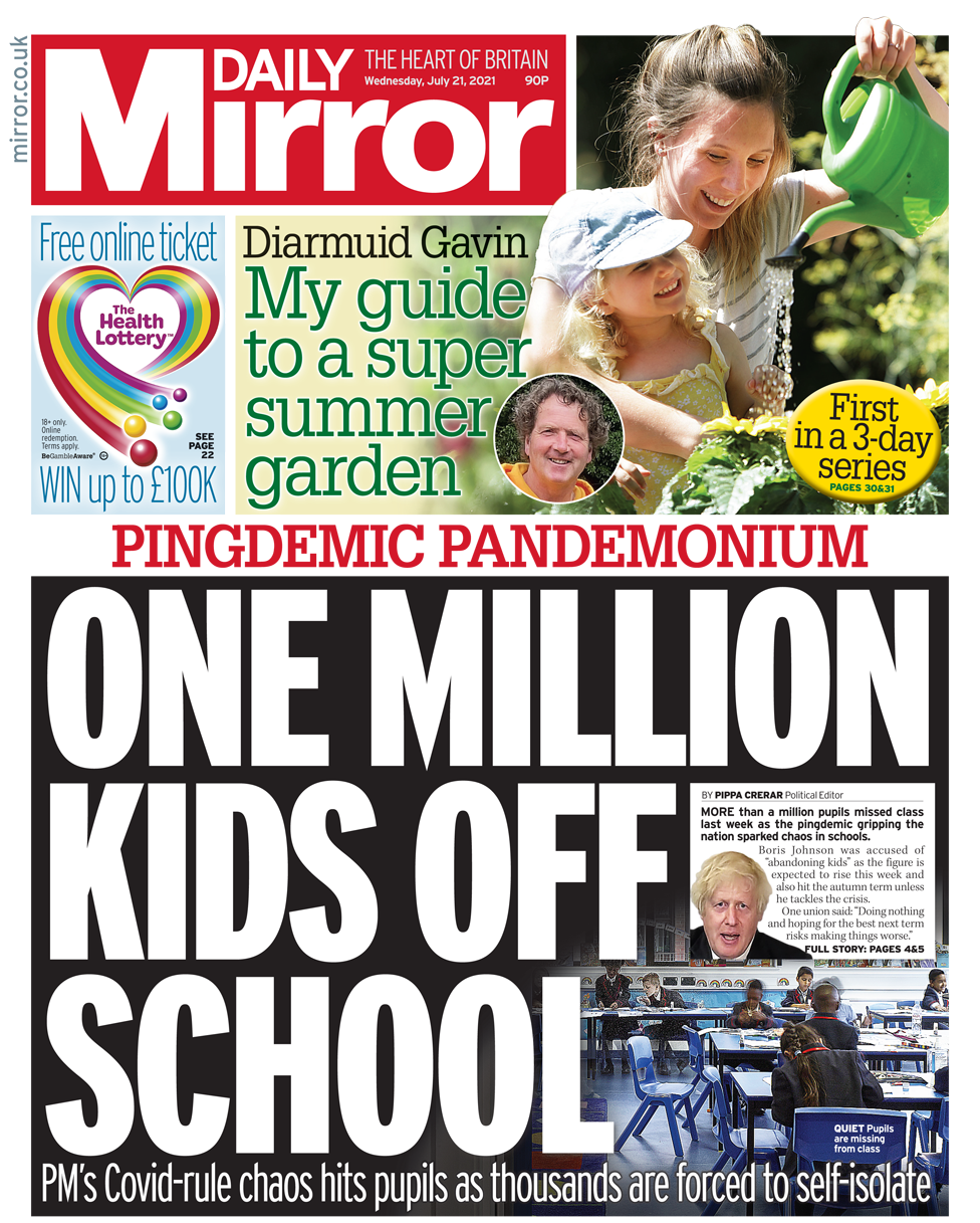 Daily Mirror front page 21/07/21